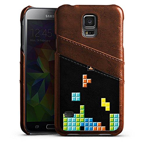 Samsung Galaxy S5 Neo Lederhülle maroon Leder Case Leder Handyhülle Game Spiel 8-Bit Tetris (Maroon Spiel)