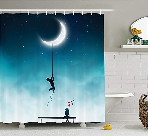 KRISTI MCCARTNEY Fantasy House Decor Shower Curtain Set by, Boy Climbing to The Moon with Rope Girl Sitting on A Bench in Love Fantasy Artwork, Bathroom Accessories, 75 inches Long, Teal White