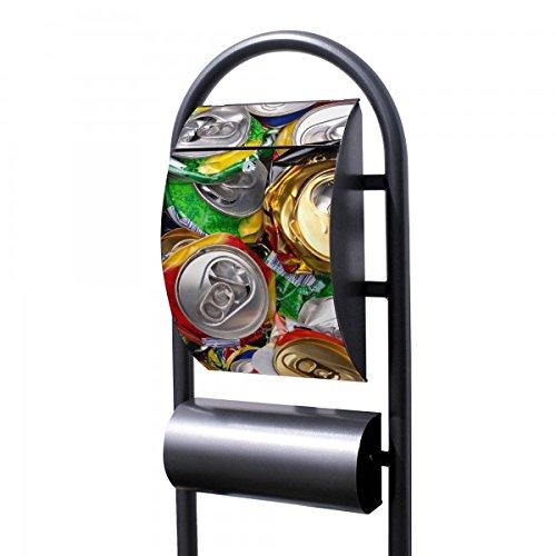 banjado - Design Stand Briefkasten mit Zeitungsrolle Metall schwarz 44x150x14cm mit Motiv Dosen