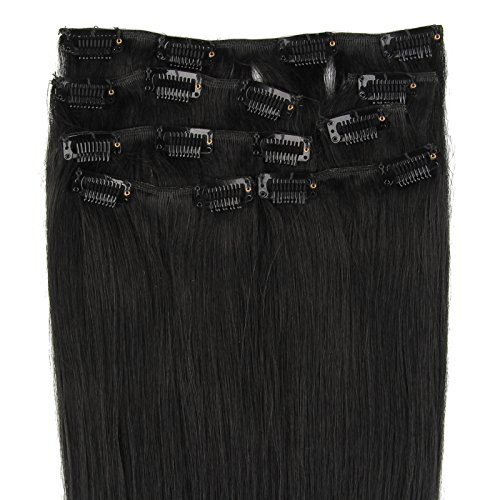Beauty7 7 Unidades 70g Extensiones de Clip Clips de Pelo Natural Pelucas Cabello Humano Moreno de Color 1 Negro de 16 Pulgadas 41 cm Larga