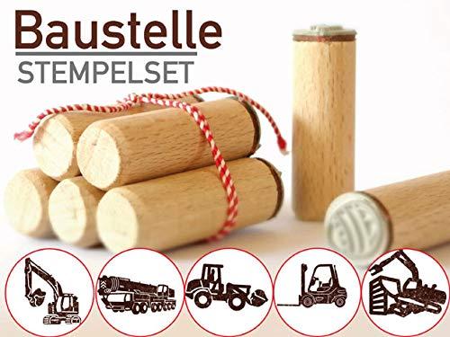 13gramm Baustelle Stempelset Geschenk, 5-teilig aus Buchen-Holz