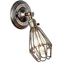 Apliques de Pared Vintage con interruptor Ajustable Metal Lampara Rustica Lámpara Industrial de Pared E27 para la Salon, Cocina, Desván, Restaurante, Cafe, Club(Bronce, Bombillas No Incluidas)