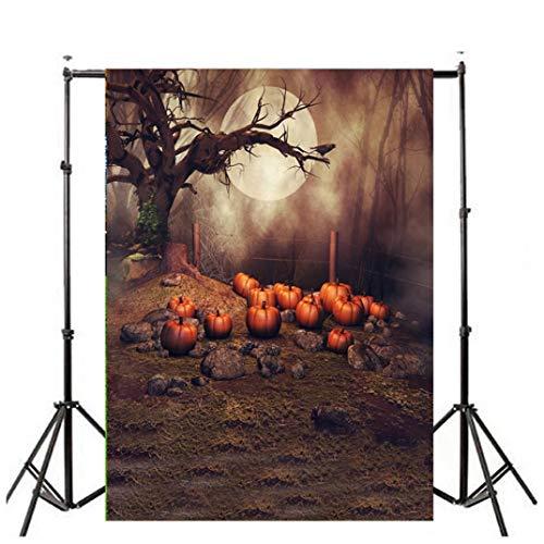 VEMOW Heißer Halloween Backdrops Kürbis Vinyl 3x5FT Laterne Hintergrund Blackout Fotografie Studio 90x150cm(Mehrfarbig, 90x150cm)