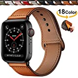 Chok Idea Innovador Hebilla Piel Genuina Correa Compatible with Apple Watch 42mm 44mm,Encubierto Hebilla Ensure Clean Fit Correa Replacment for iWatch Series 5 & 4 3/2/1,Casual Brown