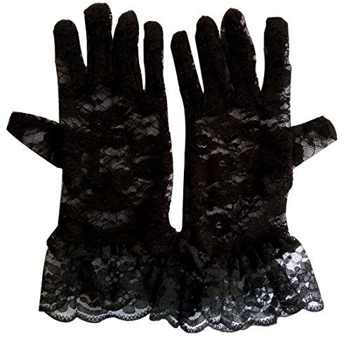 Leben Sexy pour femme Dentelle et Protection anti-UV pour fille Motif Summer Sun Block Gants Gants de mariage Noir - Noir