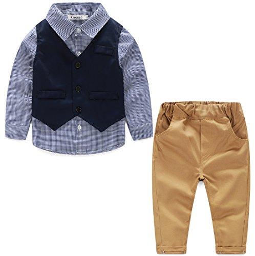 Kinder Baby Kleinkind Jungen Kleider Coat Kleidung Gentleman Baumwolle mit Ärmeln Herbst Kleidung des Babys Taufe Hochzeit Weihnachten Sakkos Anzüge Hemd (0-24M) (Kleinkinder Für Ostern-kleider Beste)