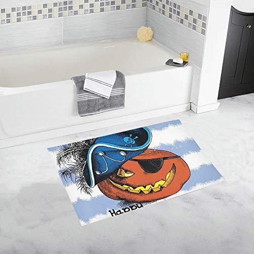 JOCHUAN Halloween Poster Bild Spooky Pumpkin Eyes benutzerdefinierte rutschfeste Badematte Teppich Bad Fußmatte Boden Teppich für Badezimmer 20 X 32 Zoll (Benutzerdefinierte Damen Piraten Kostüm)