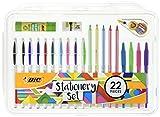 BIC 961543Ensemble de papeterie bâton de colle/Mini gomme/ruban correcteur/HB crayon Graphite/stylo à bille (lot de 22)
