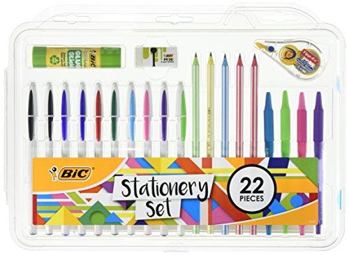 BIC 961543 Schreibwaren-Set, Klebestift, Mini-Radiergummi, Korrekturband, HB Graphitstift, Kugelschreiber, 22 Stück Mini Glue Pen