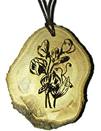 Retrosheep Sweet pea flower floral Handmade Eco Friendly Wooden Necklace Charm