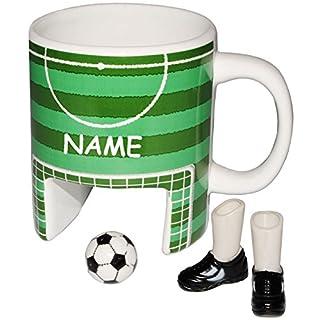 alles-meine.de GmbH 3-D Effekt _ Kaffeebecher / Henkeltasse -  Fußballspielfeld + 2 Füße & Fußball  - incl. Name - Tasse aus Porzellan / Keramik - 260 ml - Bürofußball & Tischf..