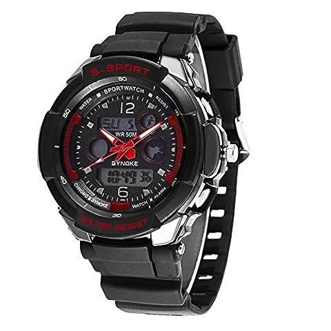 Männer LED Analog Digital Alarm Datum Wasserdichte Sportuhr Armbanduhr Hintergrundbeleuchtung Armbanduhr Mann Frauen Uhr , black red