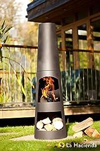 La Hacienda Circo 125cm Black Steel Chimenea Chiminea Patio Heater