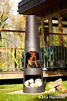 La Hacienda Circo 125cm Black Steel Chimenea Chiminea Patio Heater from La Hacienda