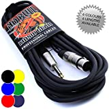 """Female XLR to 1/4"""" Jack Mic Lead - 6m Black Microphone Cable No Bull Music Gear"""