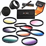 K&F Concept 58mm 9 pcs Graduated Orange Blue Grey Red Purple Green Pink Brown Yellow Lens Accessory Filter Kit for Canon 600D EOS M M2 700D 100D 1100D 1200D 650D DSLR Cameras + Microfiber Cleaning Pen + Petal Lens Hood + Center Pinch Lens Cap + Filter Bag Pouch