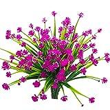 Mazheny Flores Artificiales Falsas, 4 Paquetes, para Exteriores, Resistente a los Rayos UV, Plantas...
