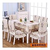 Unbekannt Zxy Chenille Dining Chair Cushion Stuhlbezug - European Rectangular Round Table Cloth - Tischdecke Stuhlbezug Bezug Haushalt DYF (Color : S, Size : 4 * 4 Cushion 130 * 180 Tablecloth)