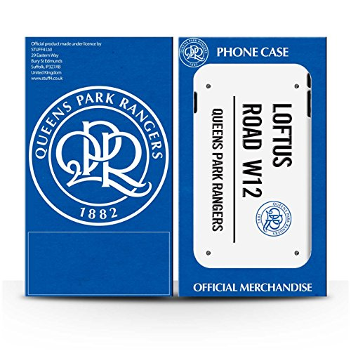 Officiel Queens Park Rangers FC Coque / Clipser Brillant Etui pour Apple iPhone 4/4S / Blanc/Or Design / QPR Loftus Road Signe Collection Blanc/Noir