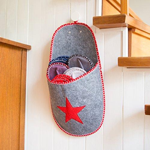 Levivo Gäste-Hausschuhe, 11-tlg. Set aus Filz mit Sternmotiv, grau Rot