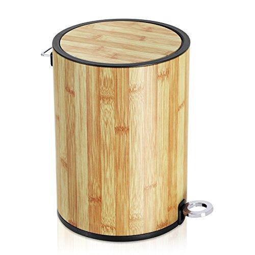 Songmics pattumiera da bagno cestino a pedale da 6 litri con coperchio in abs e cesto interno di plastica, cestino per spazzatura di metallo per bagno, ufficio, camera da letto ltb13nl