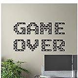 Game Over Wall Decal Gamer Affiche Signe de Jeu Salle de Jeux Vinyle Autocollant Décor À La Maison Garçons Chambre Murale Vidéo Pixel Papier Peint 75X42Cm