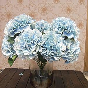 srovfidy Artificial flores de Hortensia 5grandes cabezas Bounquet (diámetro 7cada cabeza) 10colores Avaliable by mustbe