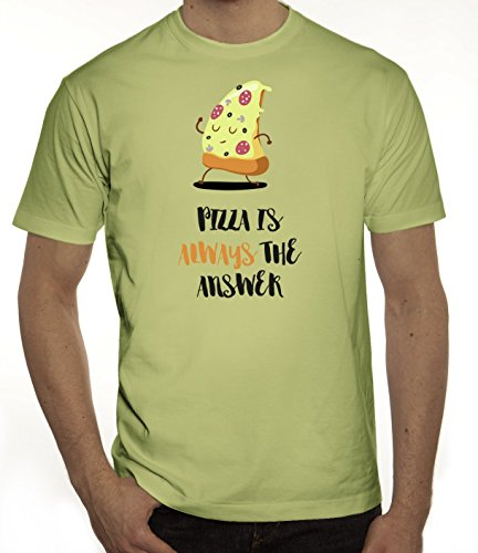 Pizza Nerd Herren T-Shirt mit Pizza Is Always The Answer Motiv von ShirtStreet Limone