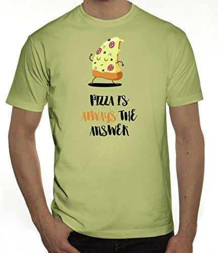 Pizza Nerd Herren T-Shirt mit Pizza Is Always The Answer Motiv von ShirtStreet Limone