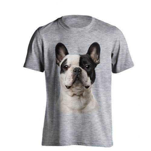The T-Shirt Factory - Camiseta Modelo Bulldog Francés para Hombre (S/Gris)