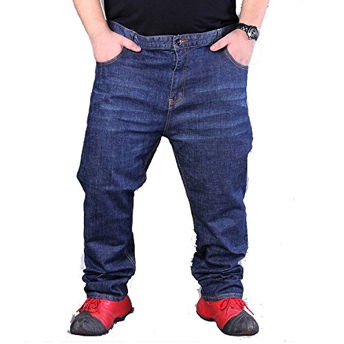 Xinmingyue Men's Denim Big Size Loose Fit Stretch Pants Size50-60 Casual Long Trouser Blue