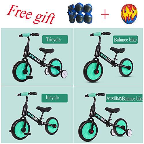shuhong 4 In 1 Kinder Laufrad Lernlaufrad Balance Bike Ausgestattet Mit Schutzausrüstung Eva-Rad Kohlenstoffstahlrahmen 2-6 Jahre Alt,Green