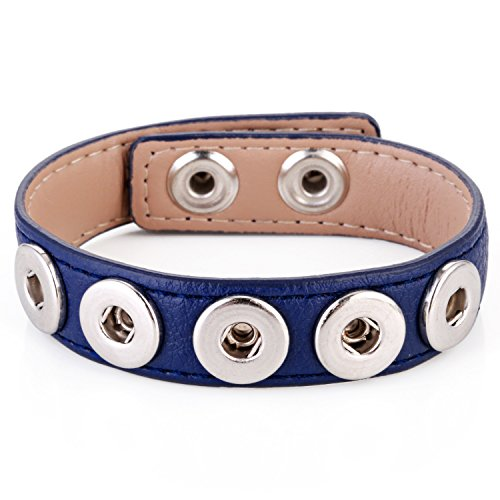 Morella® Damen Armband SMALL für Click-Button Druckknopf 12 mm Ø - blau (Leder-druckknopfverschluss-mini)