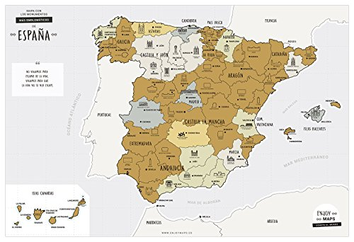 Enjoy Maps Discover Mapa Diseñada con Tinta Rascable, Papel estucado, 65 x 45 cm