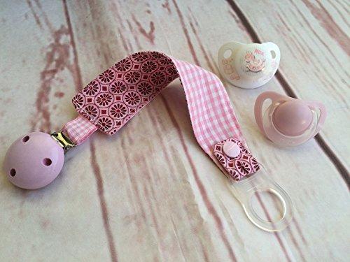 Schnullerband ORNAMENT in pink und rosa ** Schnullerkette, mit Silikonring