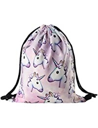 Fashlady Wayme Unicorn Pattern Drawstring Gym Bag Cute Backpack Gift For Girls Women Polyester School Travel Shoulder...