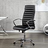 Schreibtischstuhl Chefsessel ATLANTA Schwarz Chrom Kunstleder auf 5 Rollen - Ergonomischer Designer Bürostuhl von ambientica -