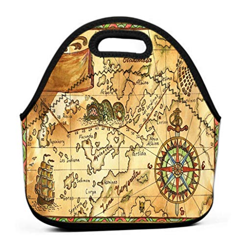 Leakproof Insulated Reusable Lunch Bag - Durable Compact Office Work School Lunch Box old pirate map ship banner rose winds hand drawn continents islands sailing copy space