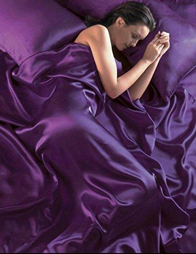 6-TEILIGES KOMPLETTES SATIN-BETTWÄSCHESET geschmeidiger Seiden-Bettbezug, inklusive Spannbettlaken und 4 Kissenbezüge, violett, King Size (Floral Satin Tröster)