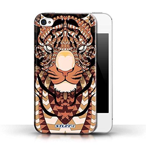 Hülle für Apple iPhone 4/4S / Wolf-Grün / Aztec Tier Muster Kollektion Tiger-Orange