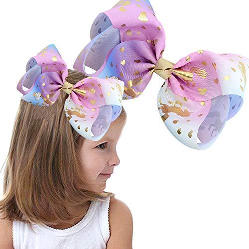 VSTON Unicorn Hair Bow für Mädchen Haar Siwa Clip Big Bows 8 Zoll Rainbow Kids Hair Bow-ein tolles Geschenk für Baby, Mädchen, Teenager Geburtstag