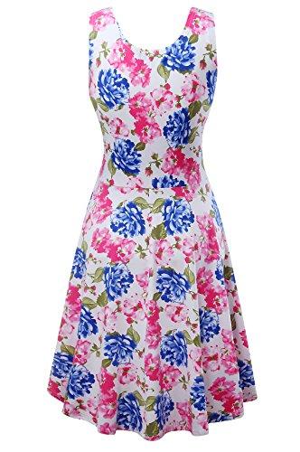 Damen Vintage Sommerkleid Traeger mit Flatterndem Rock Blumenmuster Blume