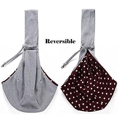 Buyger Reversible Pet Sling Carrier Hand free Puppy Cat Carrier Single Shoulder Bag (Grey) 2