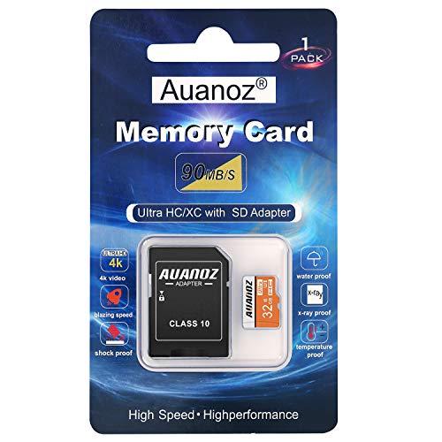 Auanoz Tarjeta De Memoria TF Ultra Class 10 UHS-I Tarjeta De Memoria De Alta Velocidad para Teléfono,Tableta y PC - con Adaptador. (Naranja-32gb)
