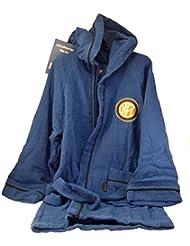 Inter 96340102120- Albornoz de microrizo, niño 4-6años, 100% de algodón, negro/azul, 22x 25x 5cm