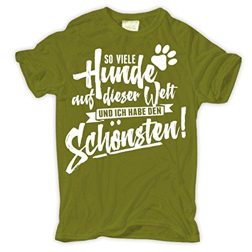 Männer und Herren T-Shirt So viele Hunde auf der Welt und ich habe den Schönsten Moosgrün