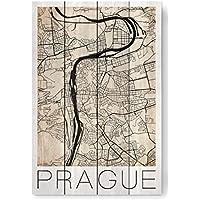 "artboxONE Holzbild 60x40 cm Retro ""Retro City Map Prague"" von Künstler David Springmeyer"