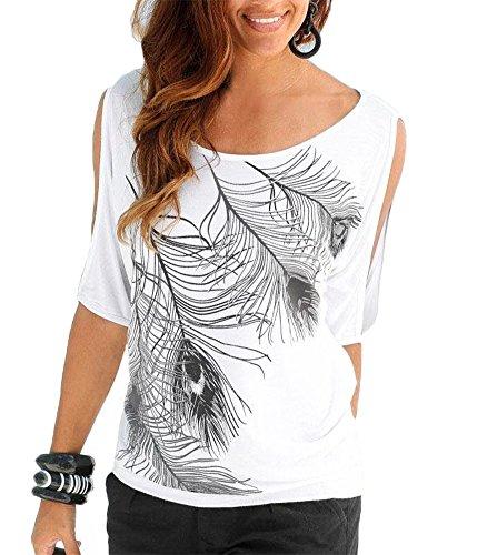 Uniquestyle Femme Vetements Chic Soirée Ete Tee Shirt Manche Courte Vetement Pas Cher Blouse Chemise Grande Taille Haut Top Fille Casual Printemps Blanc L