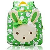 Vox Niedlich Bär Hase Tiere Kleiner Kinderrucksack Canvas Kindergartenrucksack Tasche Mädchen Jungen Babyrucksack Outdoor Schultasche Backpack für 1-6 Jahre Alte Baby Zum Wandern (Grün)