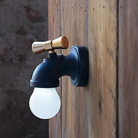 LanLan Bedroom Toilet Night Lamp Novelty Faucet Shape Voice Control Night Light USB Rechargeable Antique Tap LED Wall Light Black